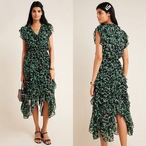 MISA Los Angeles Dakota Dress Green Floral Midi